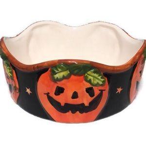 New Pumpkin Halloween Bowl Decor Glazed inside/out